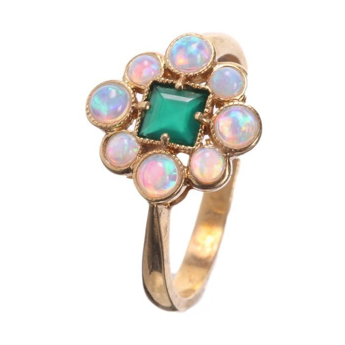 Opal & Emerald Paste Gilded Ring