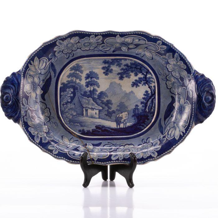 European Porcelain Blue Painted Dish