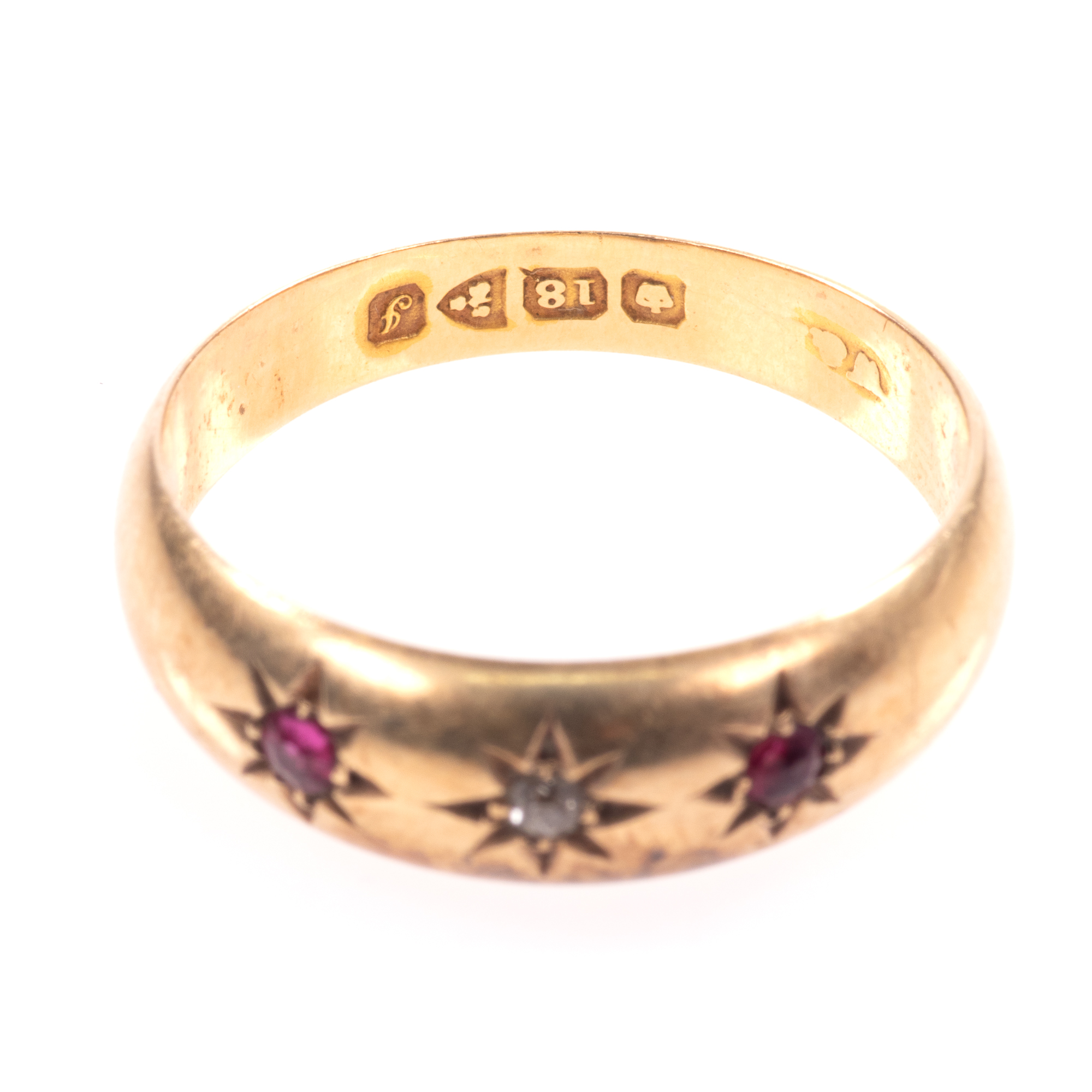 18ct Gold Edwardian Ruby & Diamond Ring Chester 1909 - Image 4 of 8