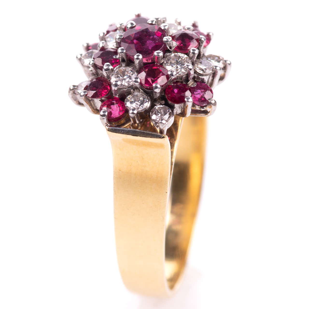 18ct Gold Ruby & 0.35ct Diamond Cluster Ring Hallmarked Birmingham
