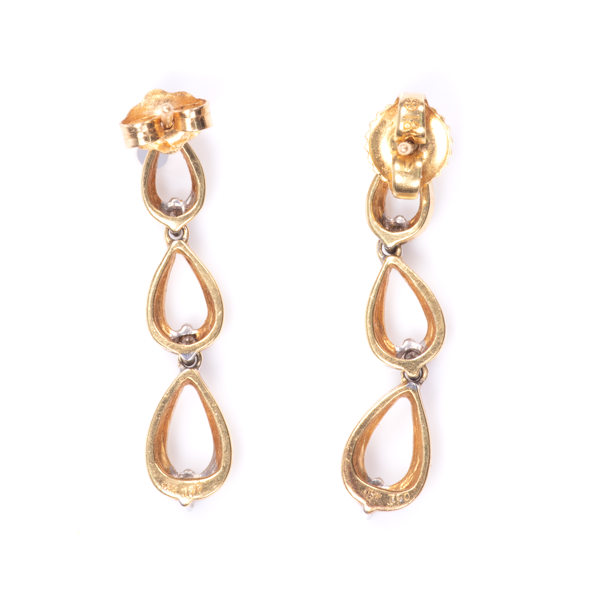 18ct Gold Diamond Earrings - Image 6 of 6