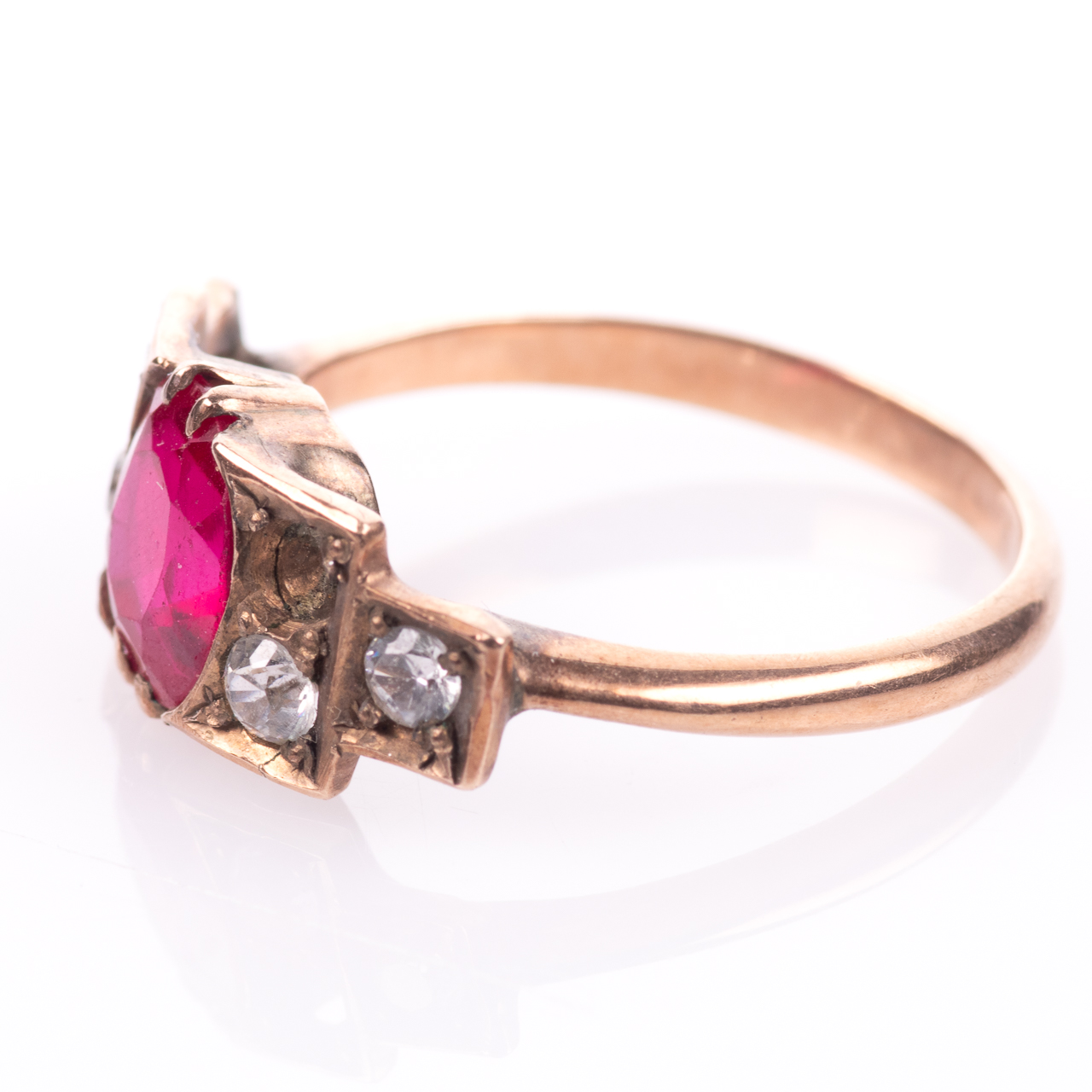 Art Deco Ruby & Paste Ring - Image 4 of 6