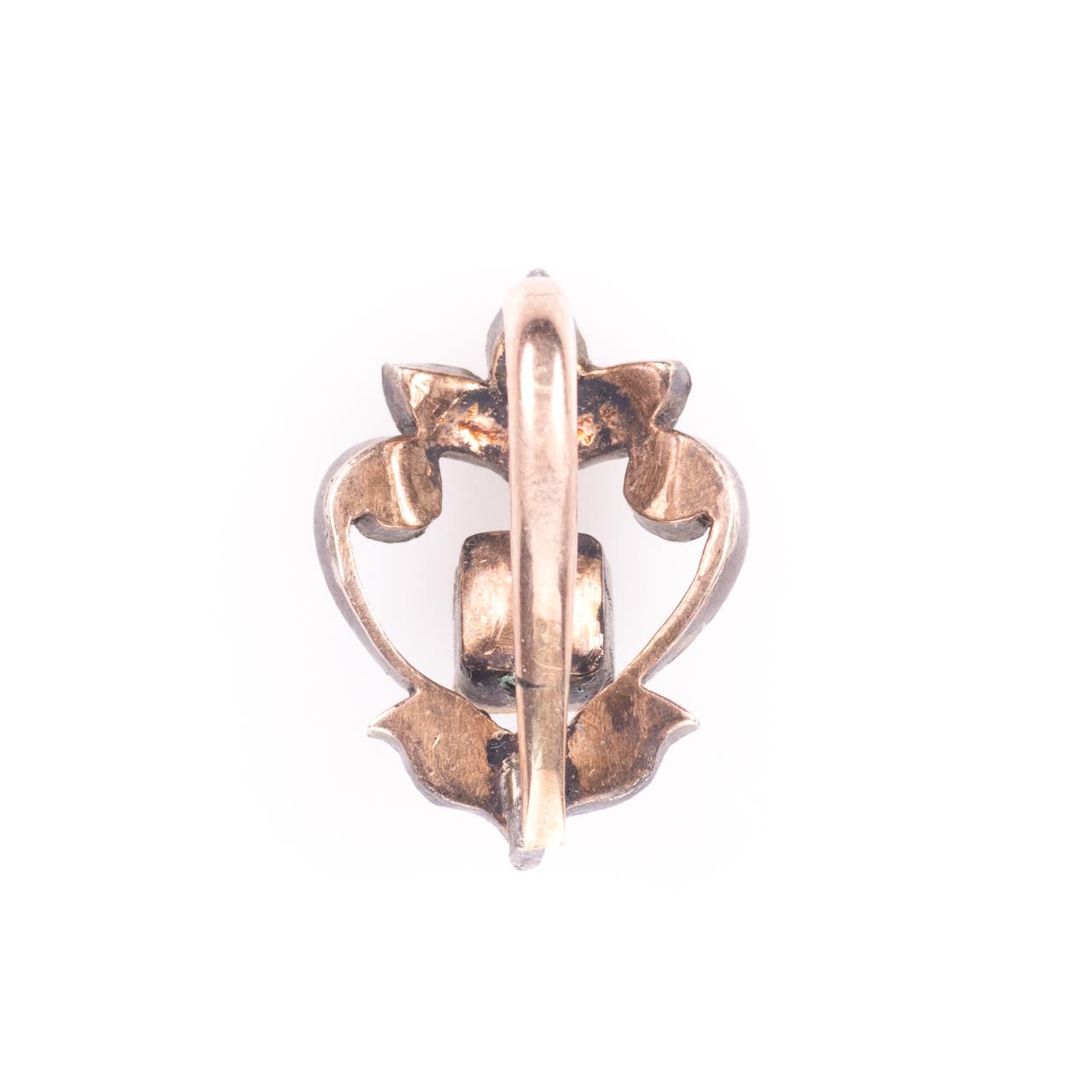Rose Cut Diamond & Emerald Fleur de Lis Pendant - Image 4 of 6