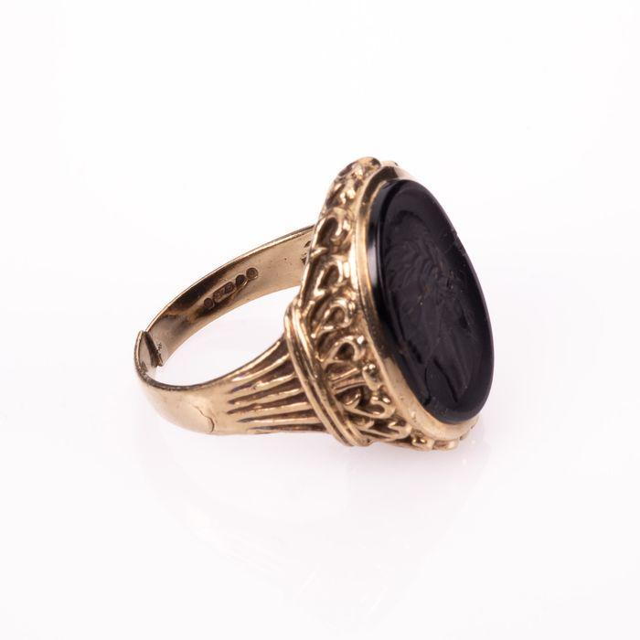 9K Gold Hardstone Intaglio Roman Style Ring - Image 6 of 7