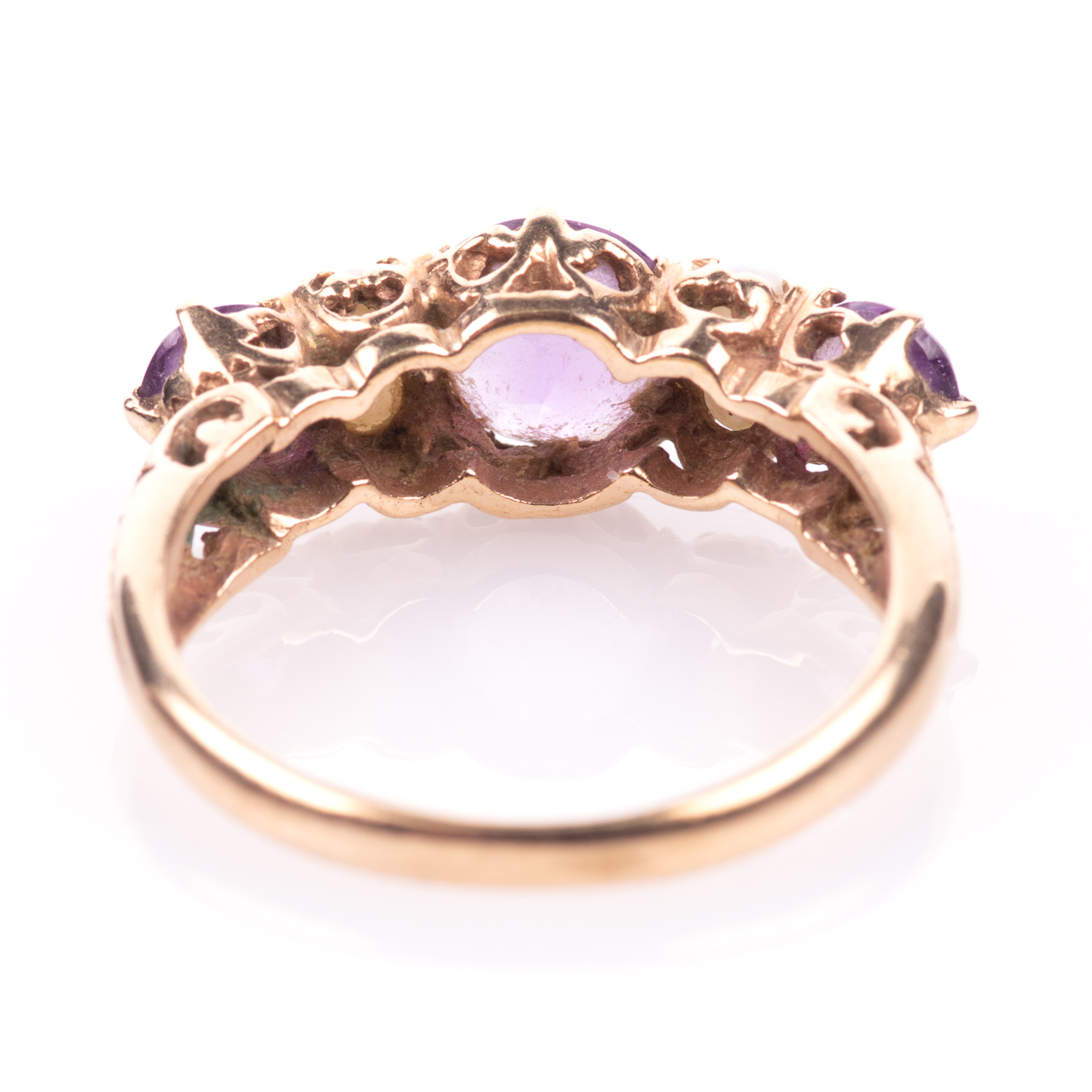 9ct Gold 2.10ct Amethyst & Pearl Ring - Image 6 of 7