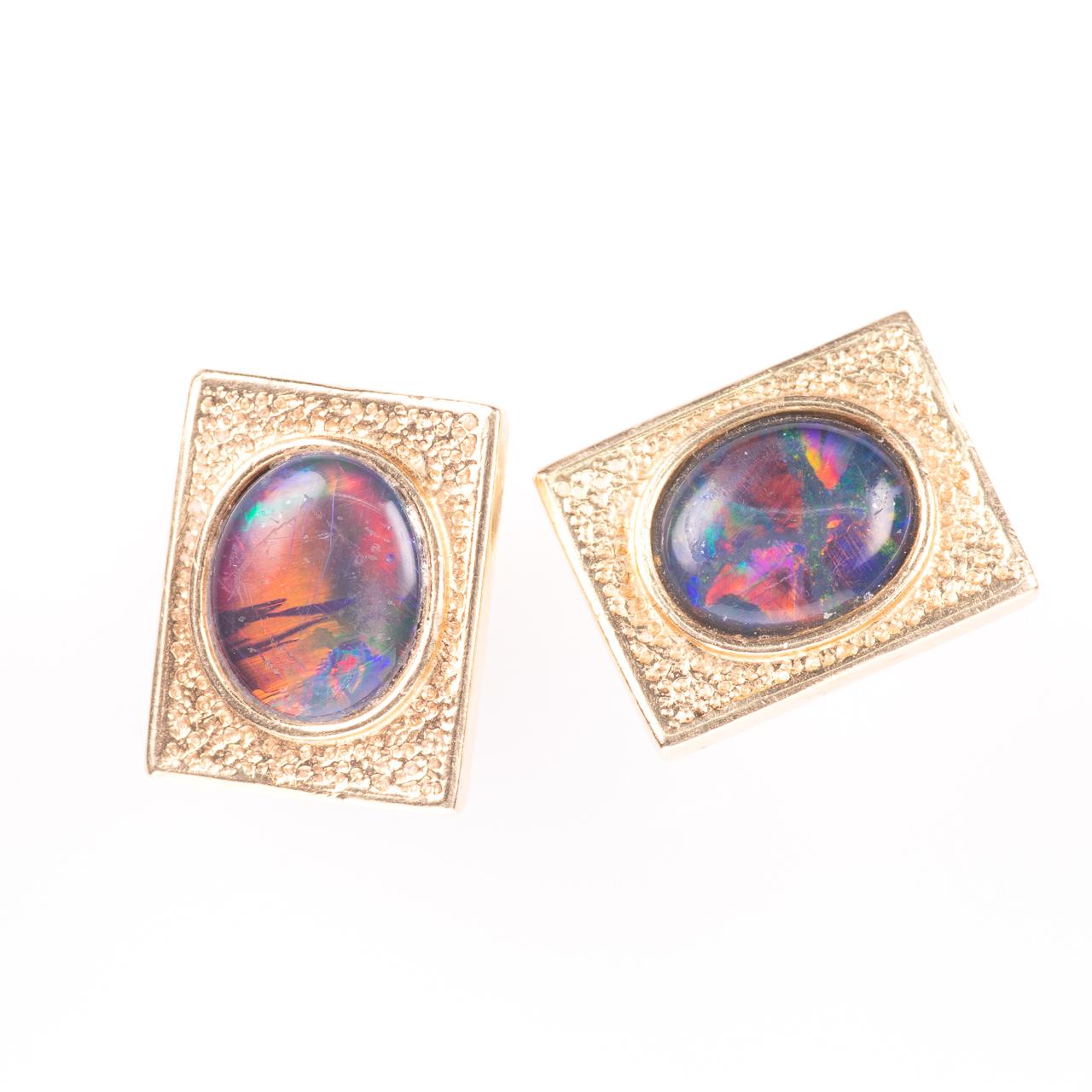 14ct Gold Gentleman's Black Lightning Opal Cufflinks - Image 2 of 6