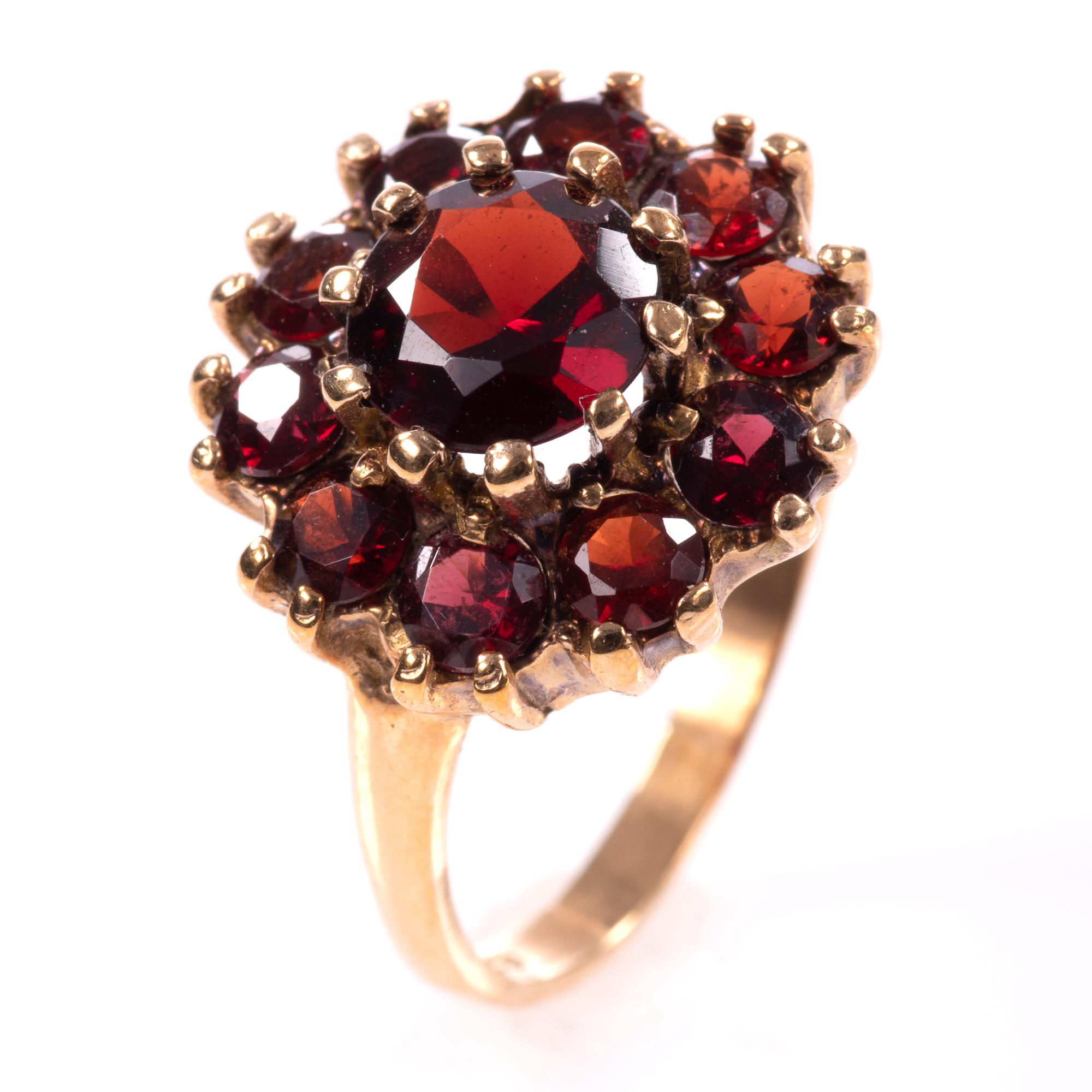 9ct Gold Garnet Ring London 1963