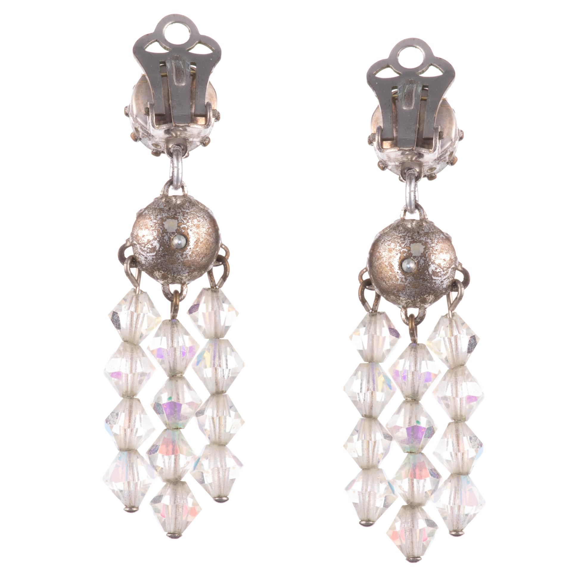 1960s Iridescent Rhinestone Earrings - Image 2 of 3