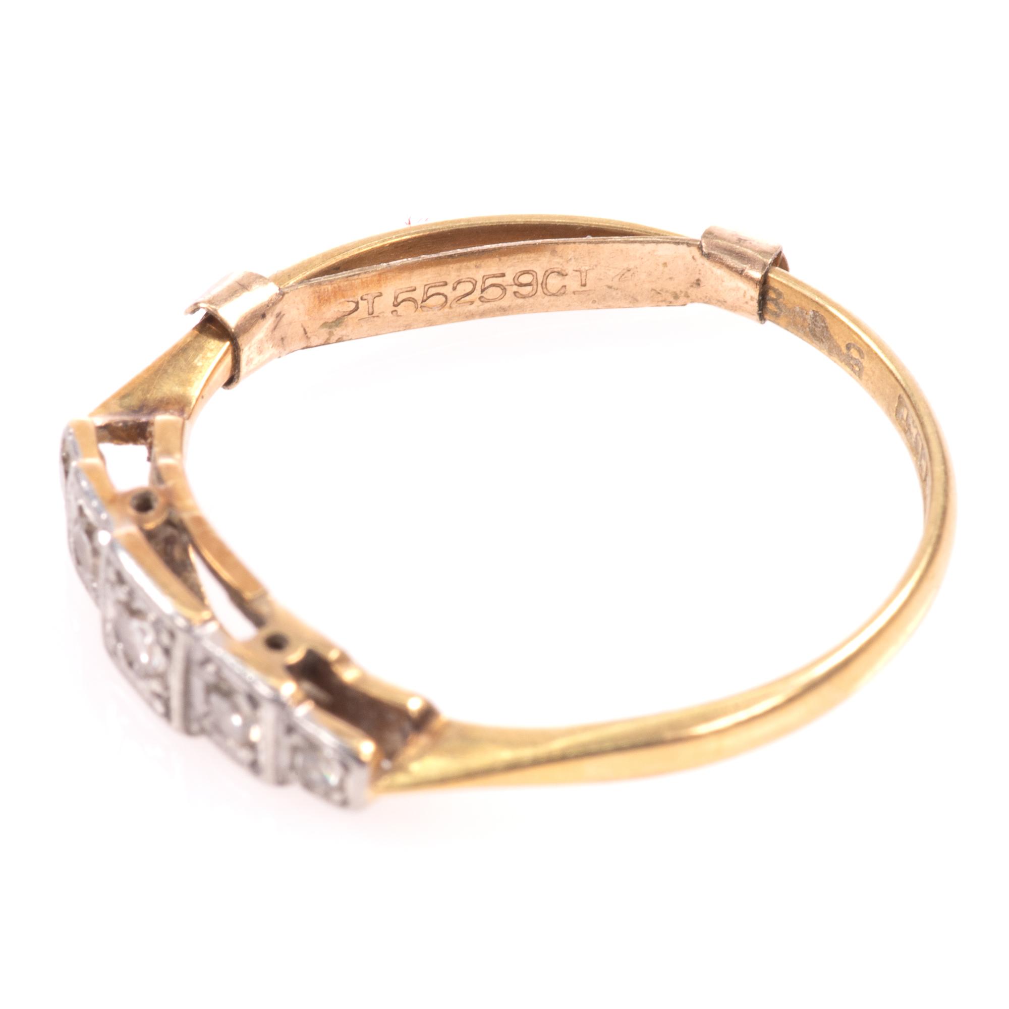 18ct Gold & Platinum Art Deco Diamond Ring - Image 4 of 9