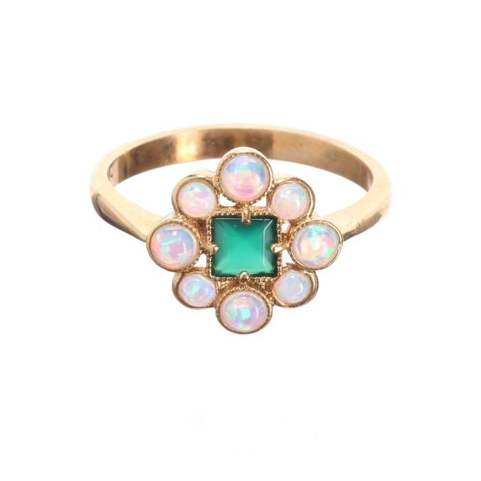 Opal & Emerald Paste Gilded Ring - Image 3 of 4