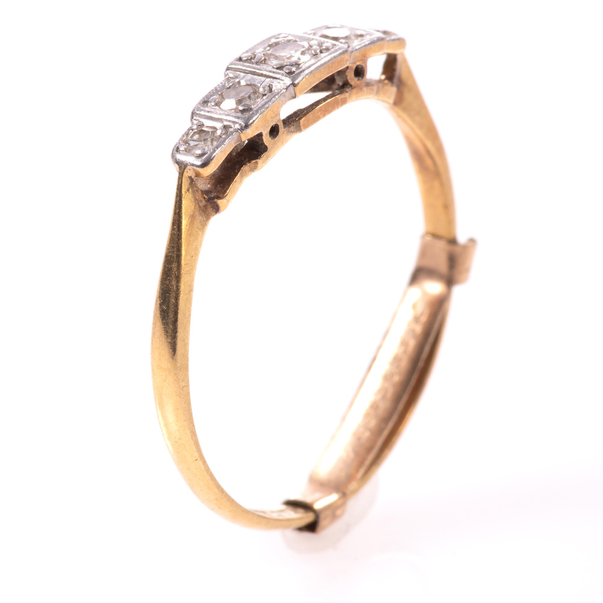 18ct Gold & Platinum Art Deco Diamond Ring - Image 2 of 9