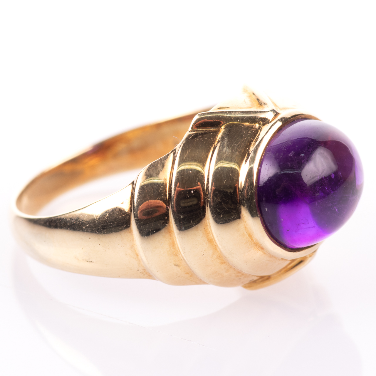 14ct Gold Amethyst Cabochon Ring Egyptian Revival Style - Image 7 of 9