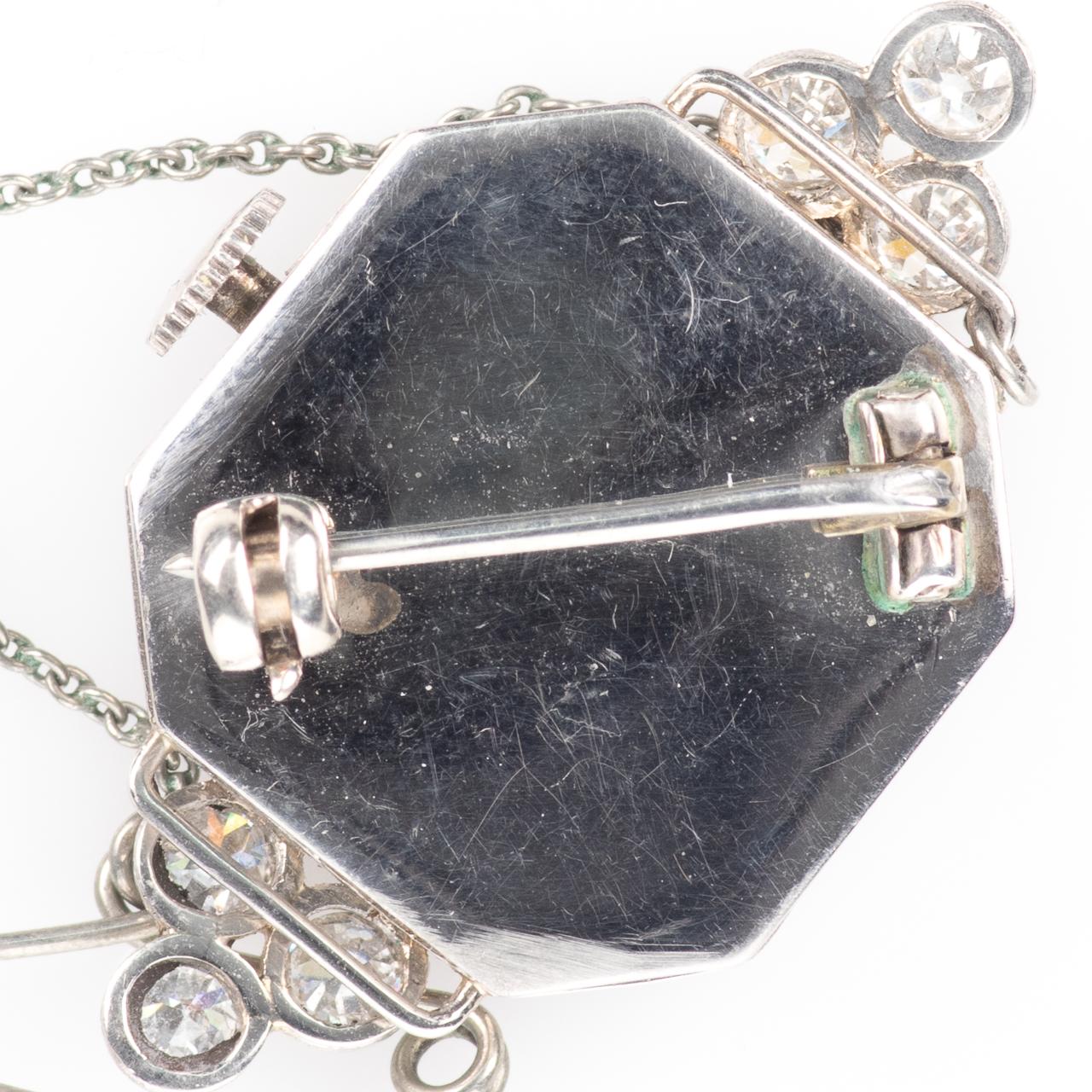 Platinum Art Deco 0.90ct Diamond Watch Brooch - Image 6 of 6