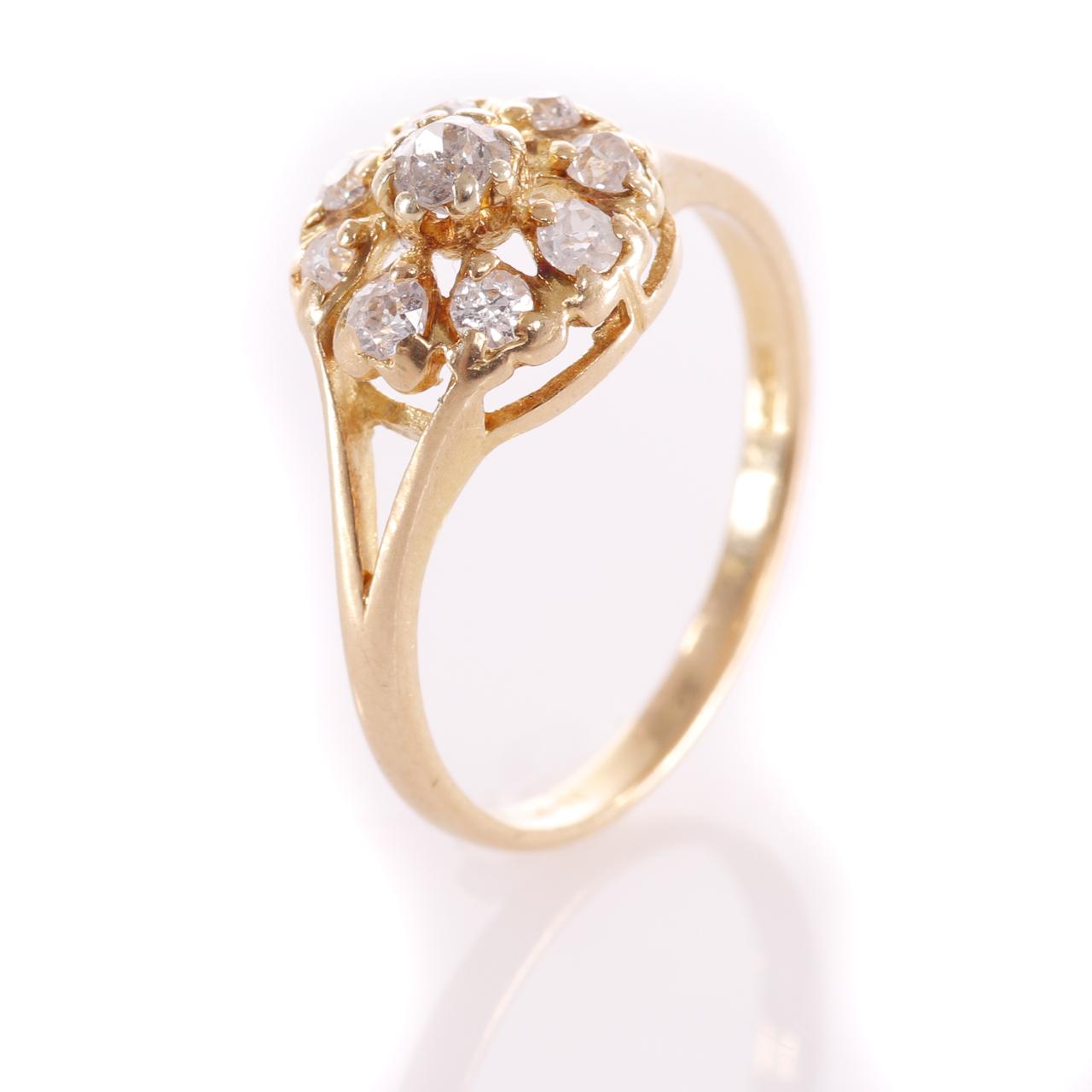 18ct Gold Rose Cut 0.35ct Diamond Cluster Ring