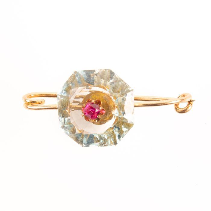 18K Gold Faceted Aquamarine & Ruby Art Deco Brooch