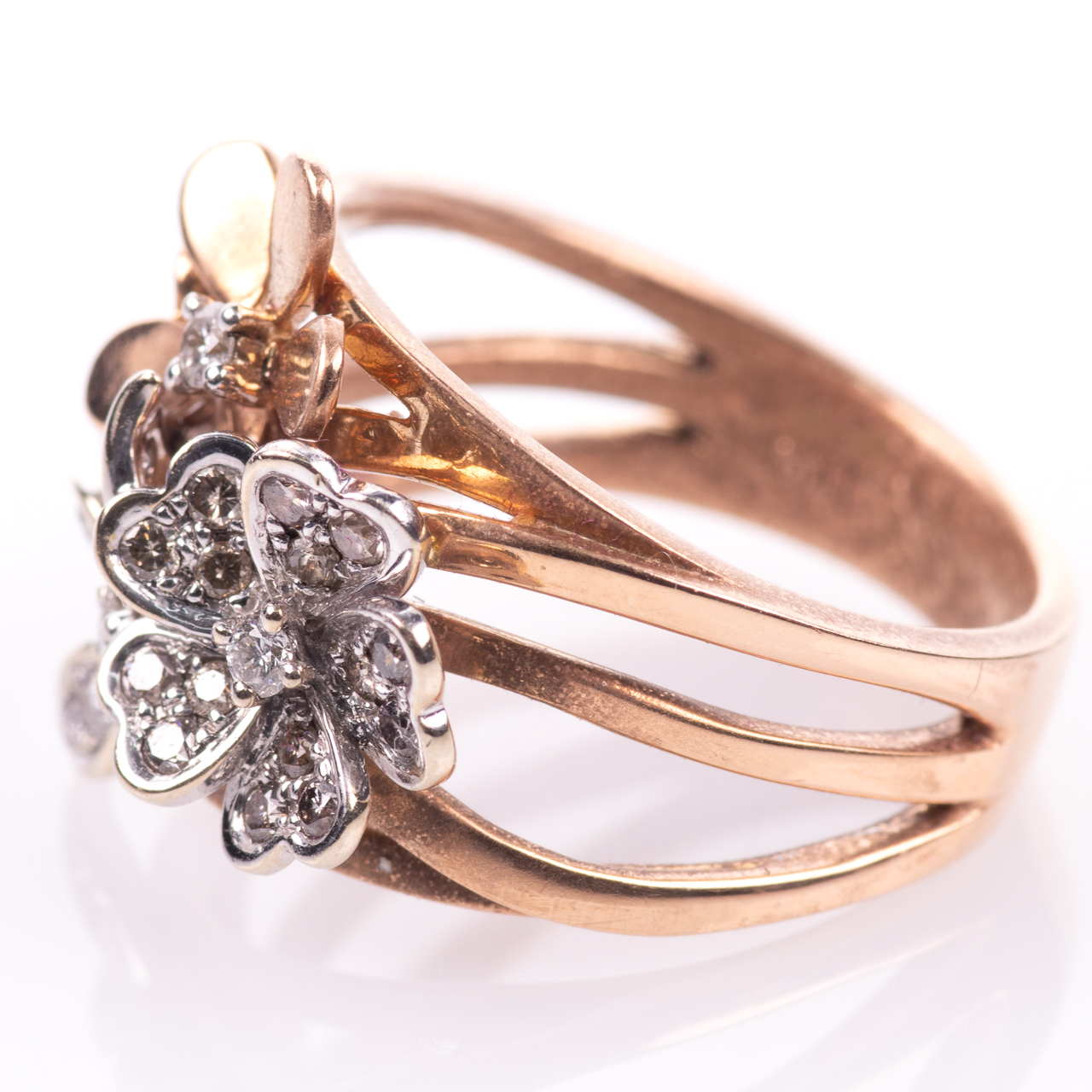 18ct Pink Gold Floral 0.25ct Diamond Ring - Image 4 of 7