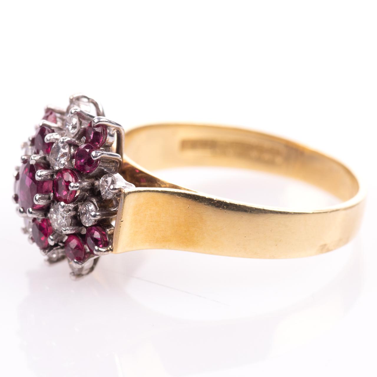 18ct Gold Ruby & 0.35ct Diamond Cluster Ring Hallmarked Birmingham - Image 4 of 7