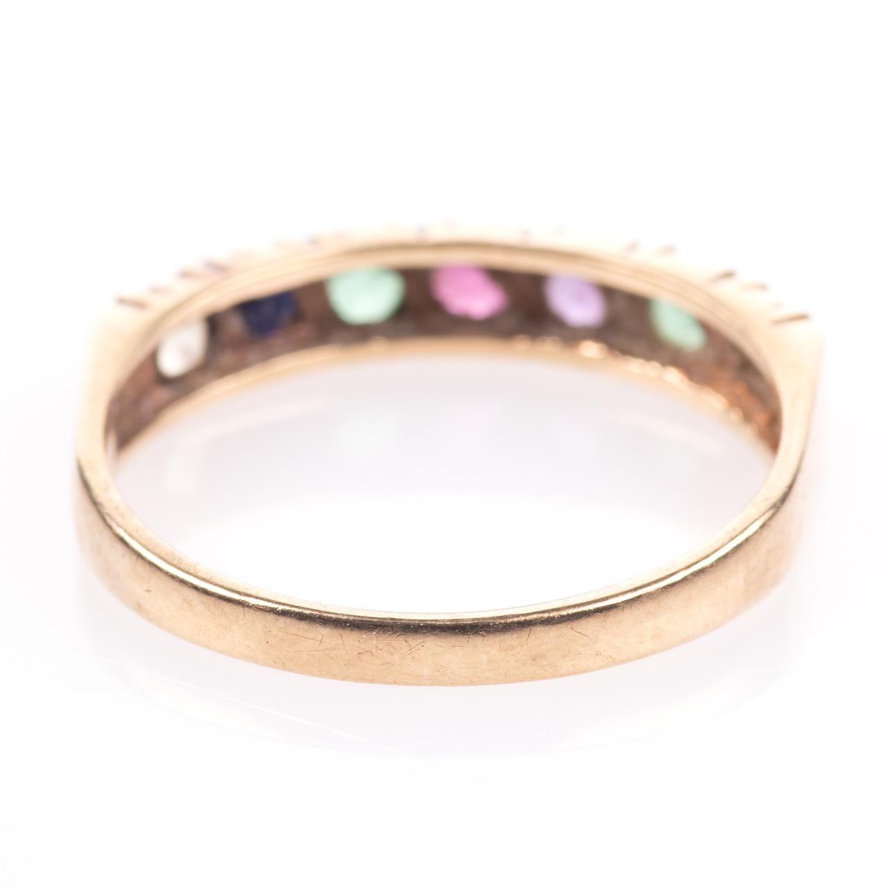 9ct Gold Emerald, Ruby, Amethyst, Sapphire & Diamond Ring - Image 6 of 8