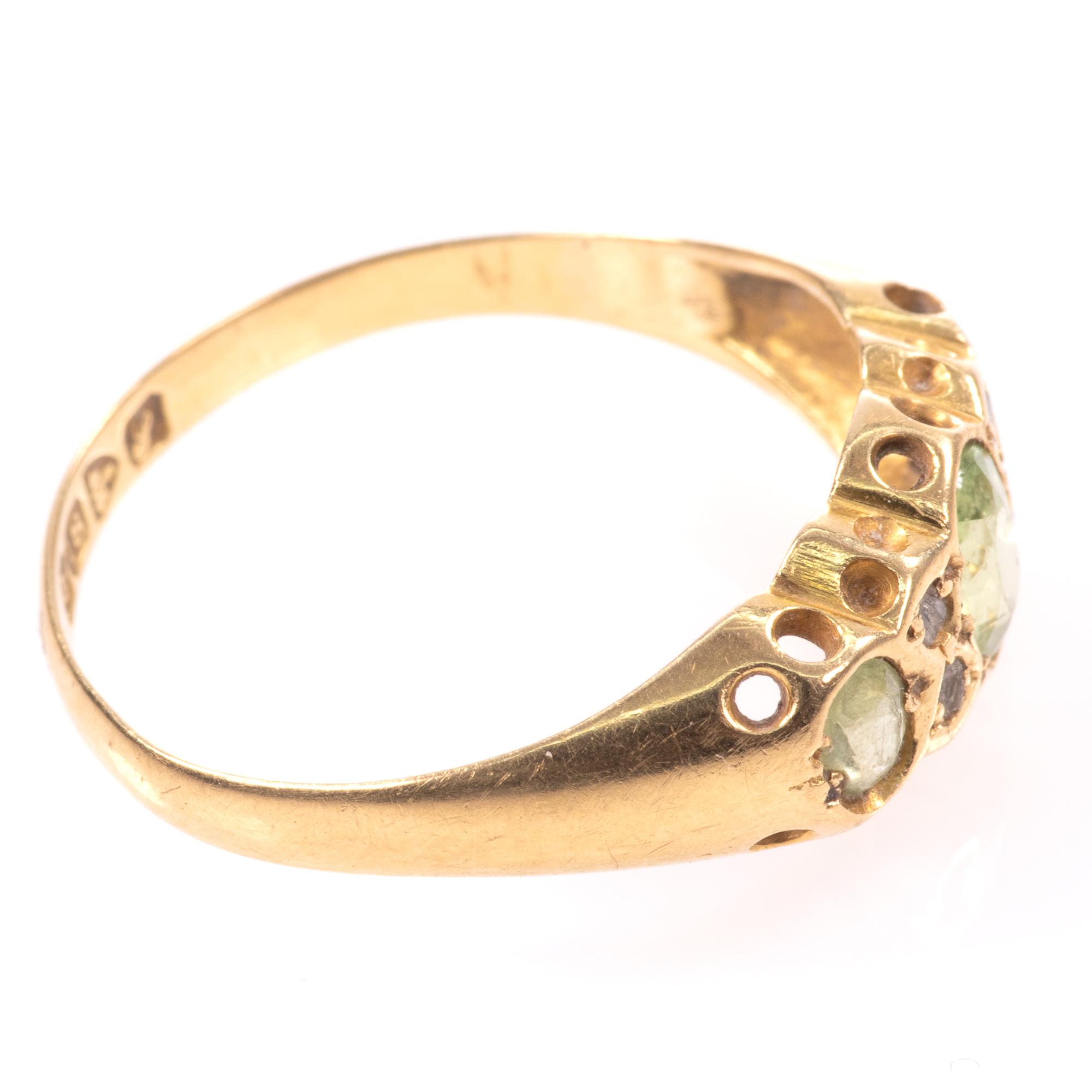18ct Gold 0.90ct Peridot & Diamond Ring Chester 1918 - Image 8 of 8