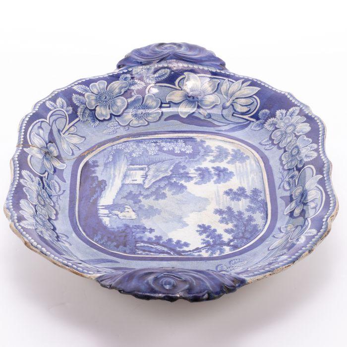 European Porcelain Blue Painted Dish - Image 3 of 3