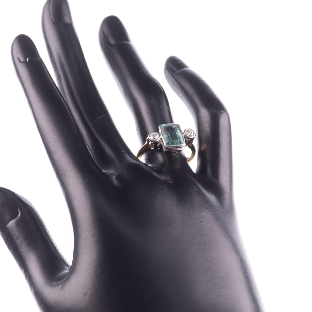 22ct Gold & Platinum 2ct Aquamarine & Diamond Art Deco Ring - Image 2 of 8