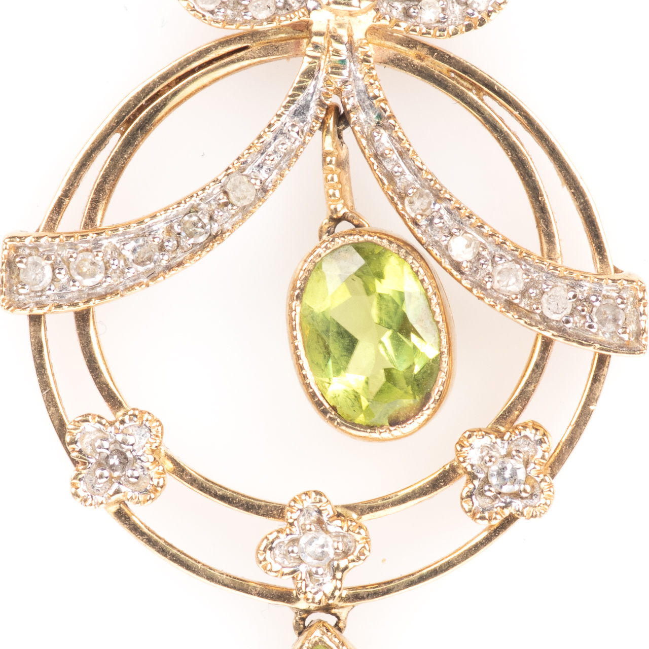 9ct Gold Art Nouveau Peridot & Diamond Pendant - Image 3 of 6