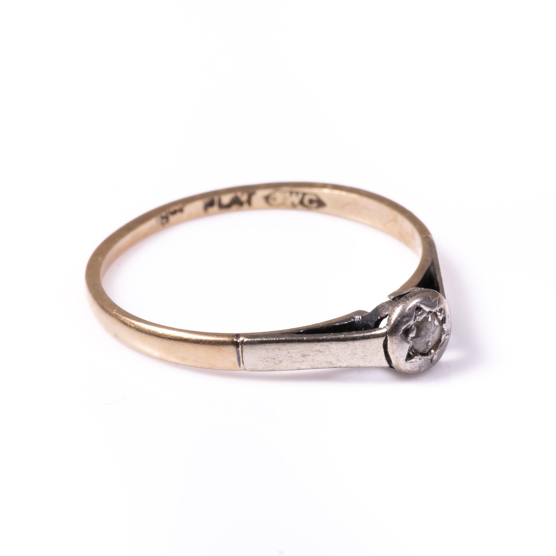 18ct Gold & Platinum Rose Cut Diamond Ring - Image 6 of 7