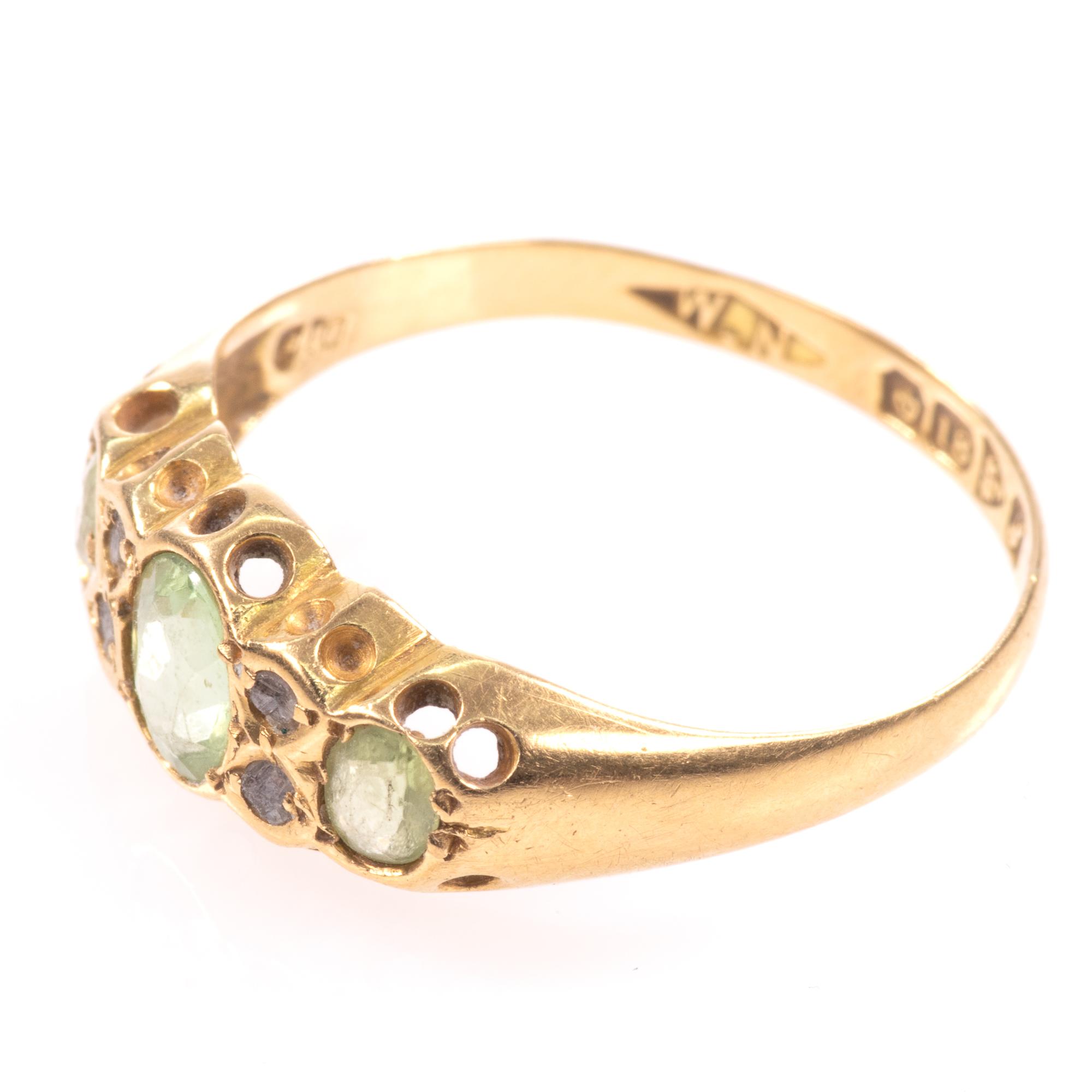 18ct Gold 0.90ct Peridot & Diamond Ring Chester 1918 - Image 6 of 8