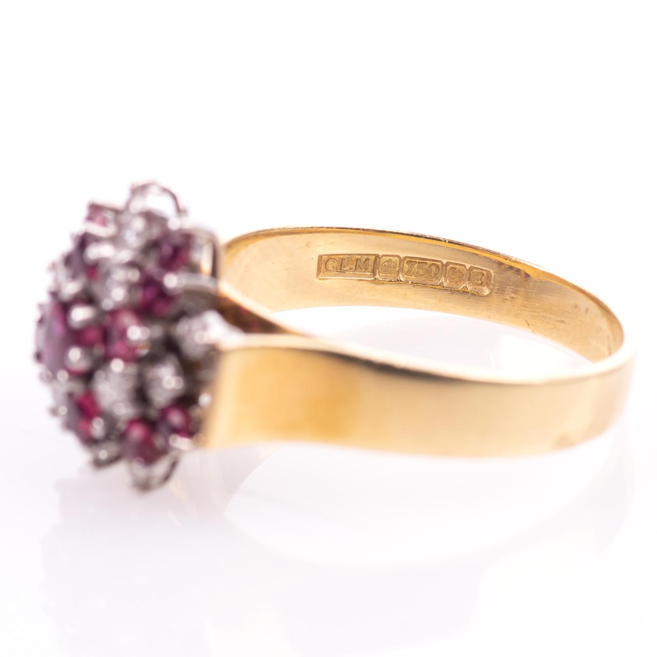 18ct Gold Ruby & 0.35ct Diamond Cluster Ring Hallmarked Birmingham - Image 5 of 7