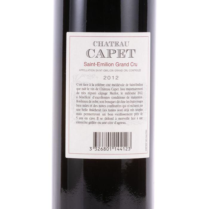 Chateau Capet 2012 Wine - Saint-Emilion - 1 Bottle (0.75L) - Image 3 of 4