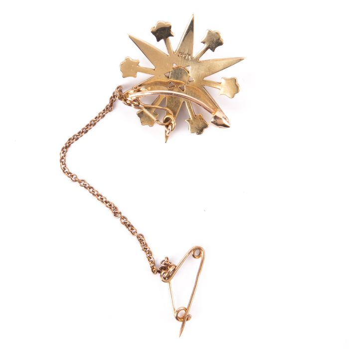 15K Gold Victorian Pearl Starbust Brooch - Image 4 of 6