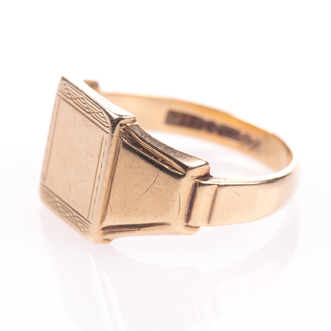 Art Deco Style Gentleman's Signet Ring 9ct Gold - Image 4 of 7