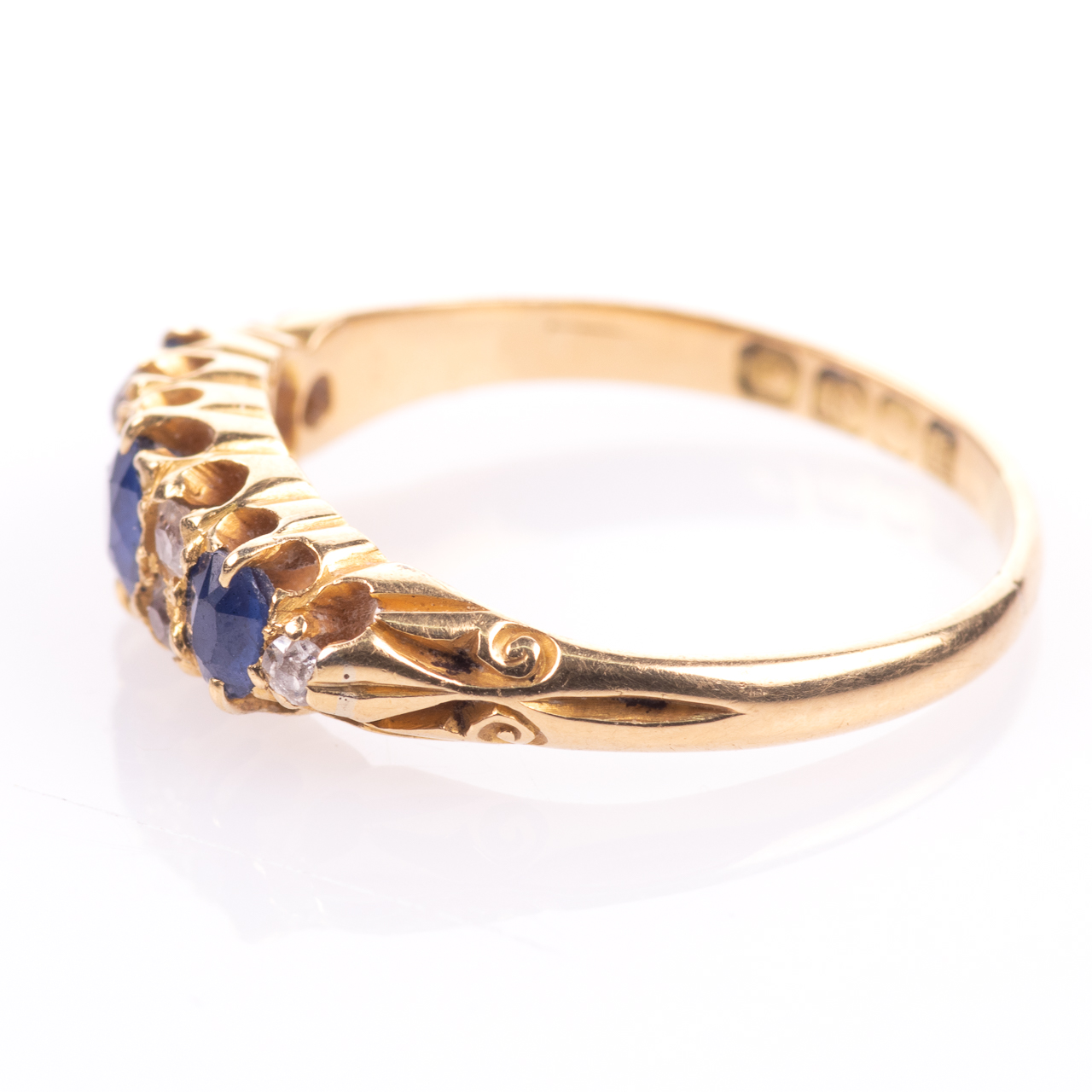 18ct Gold George V 1ct Sapphire & Diamond Ring London 1908 - Image 5 of 7