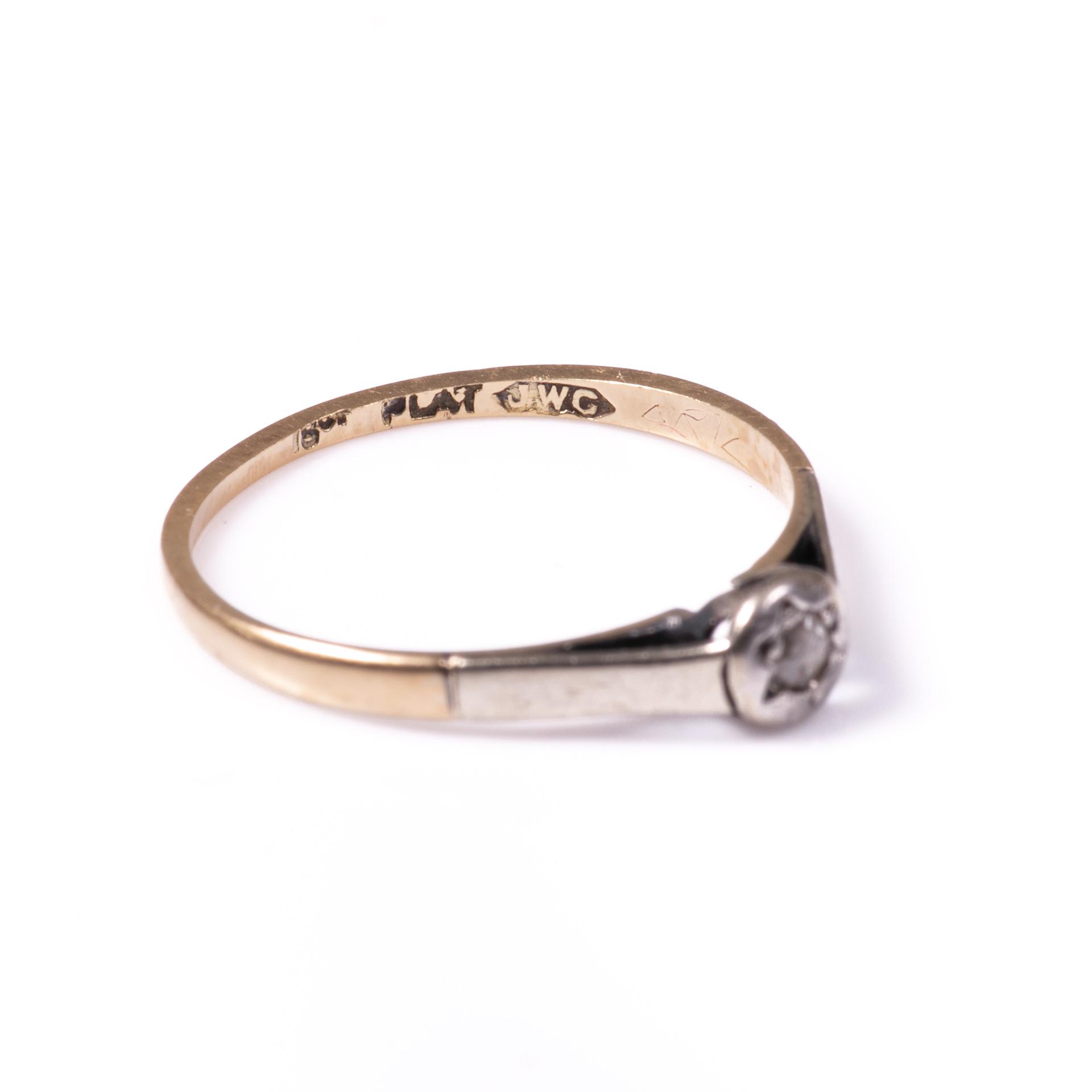 18ct Gold & Platinum Rose Cut Diamond Ring - Image 7 of 7