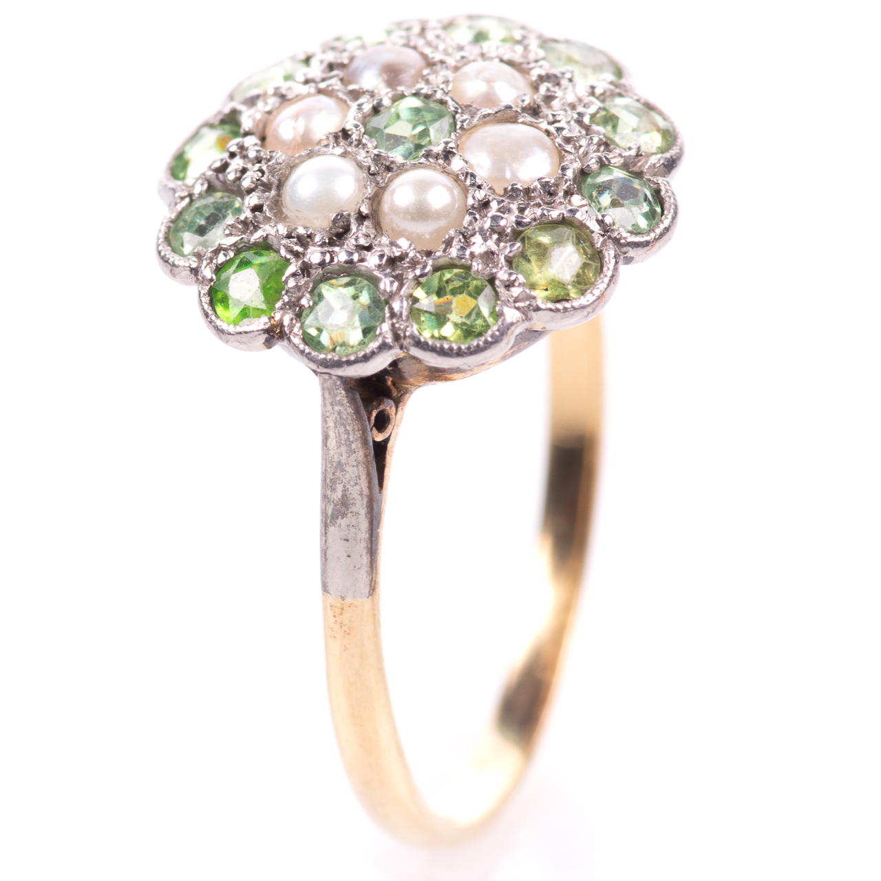 18ct Gold Victorian Peridot & Pearl Cluster Ring - Image 3 of 8