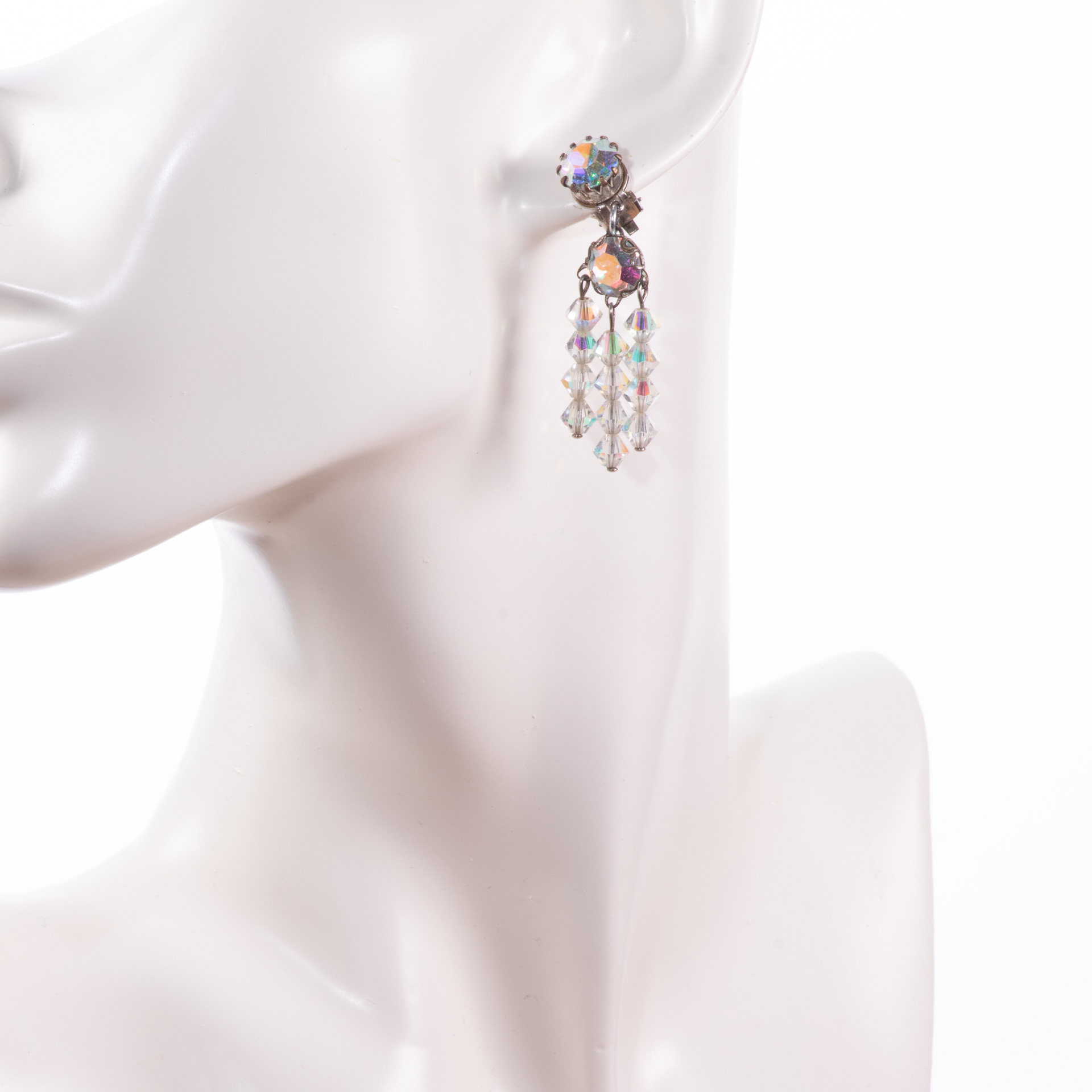 1960s Iridescent Rhinestone Earrings - Image 3 of 3
