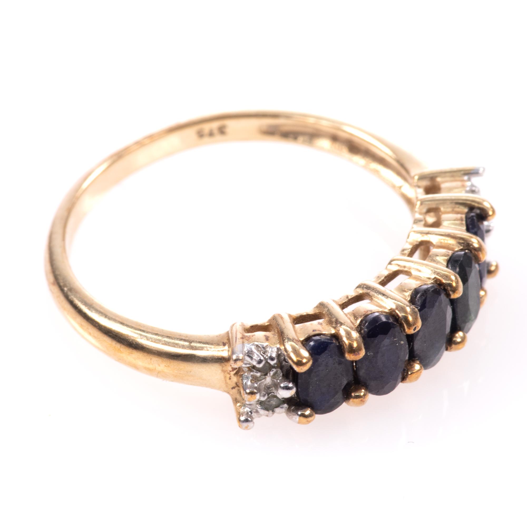 9ct Gold 5ct Sapphire & Diamond Ring - Image 6 of 7