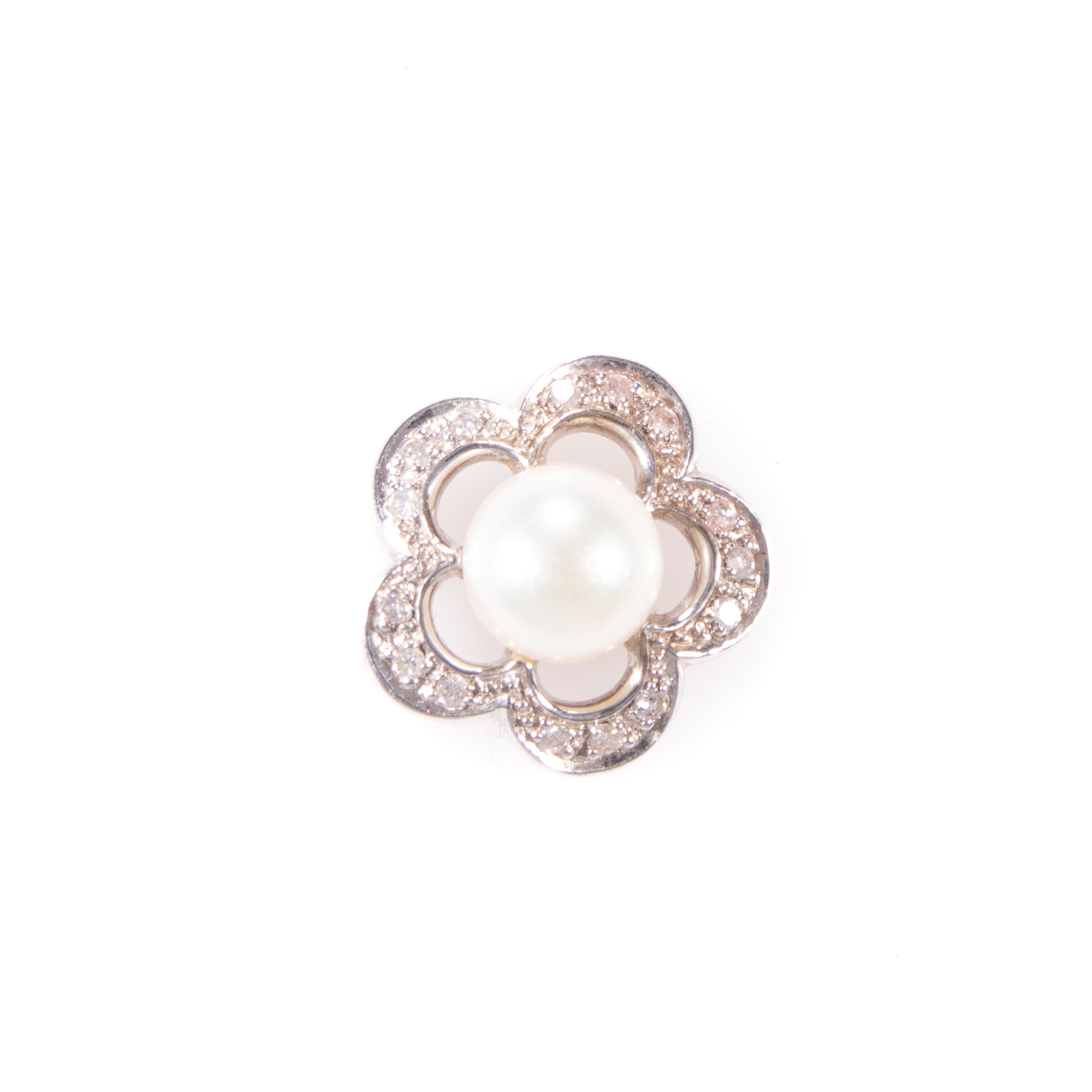 18ct White Gold Diamond & Pearl Floral Pendant - Image 3 of 6