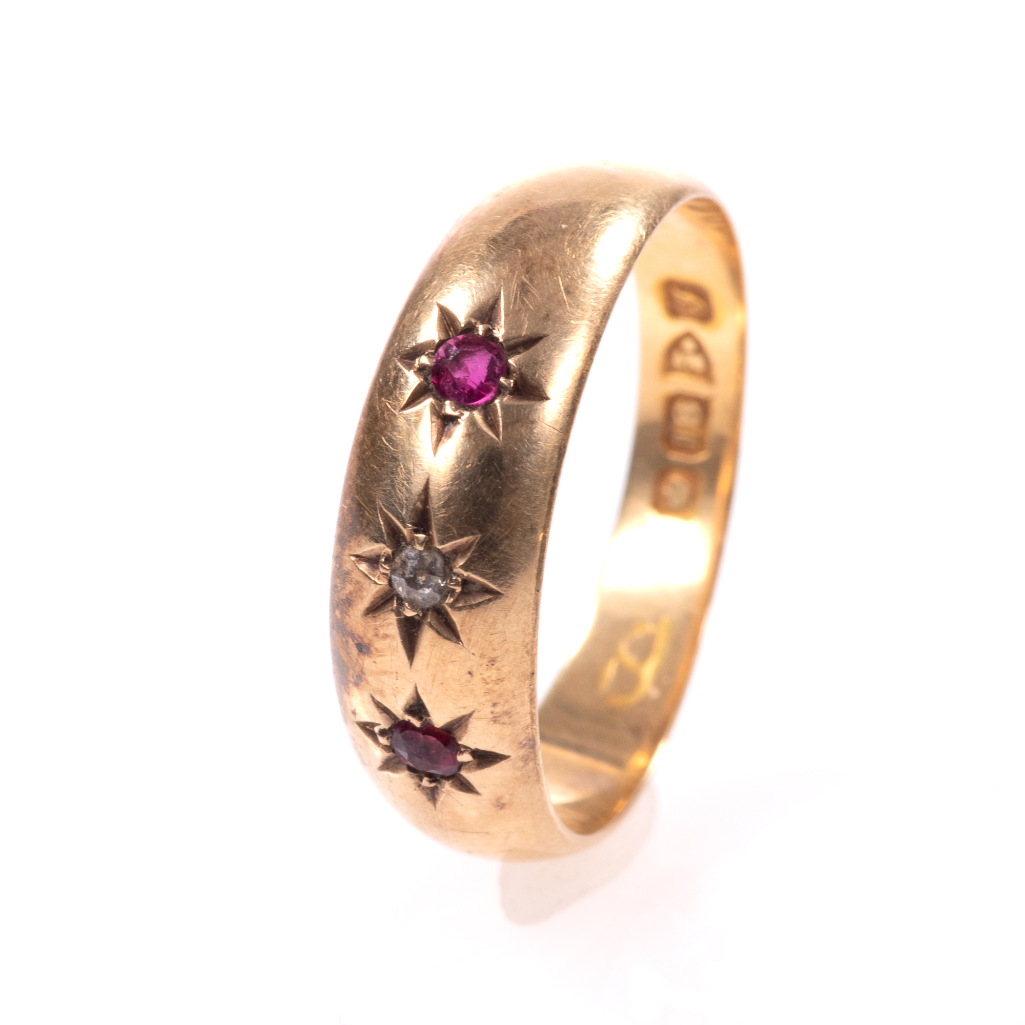 18ct Gold Edwardian Ruby & Diamond Ring Chester 1909