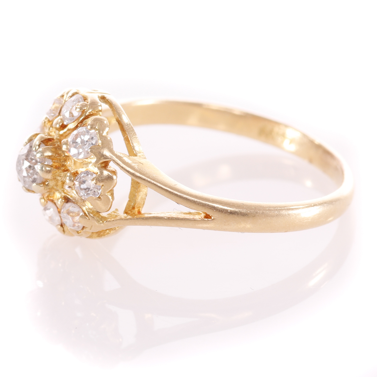 18ct Gold Rose Cut 0.35ct Diamond Cluster Ring - Image 4 of 8