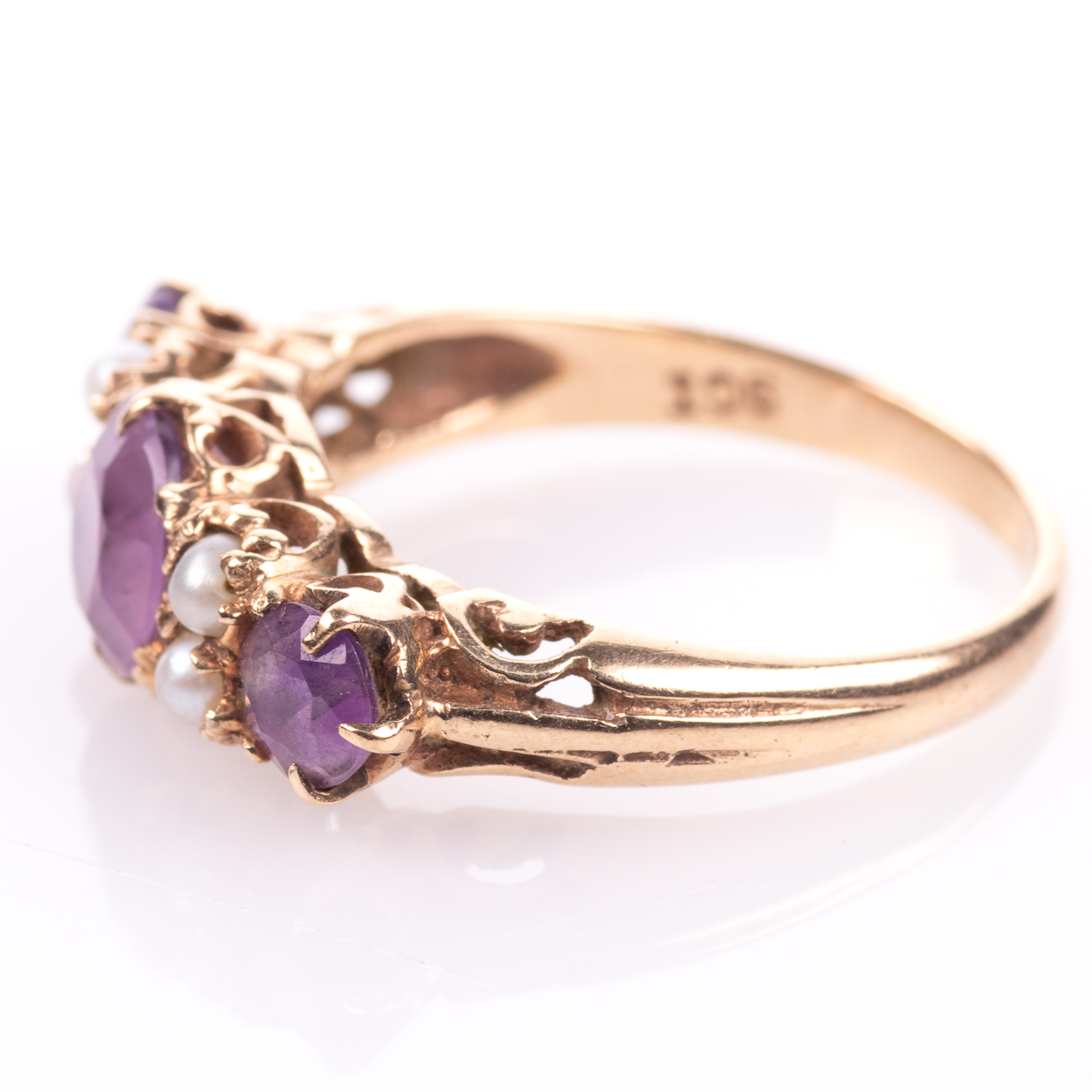 9ct Gold 2.10ct Amethyst & Pearl Ring - Image 4 of 7