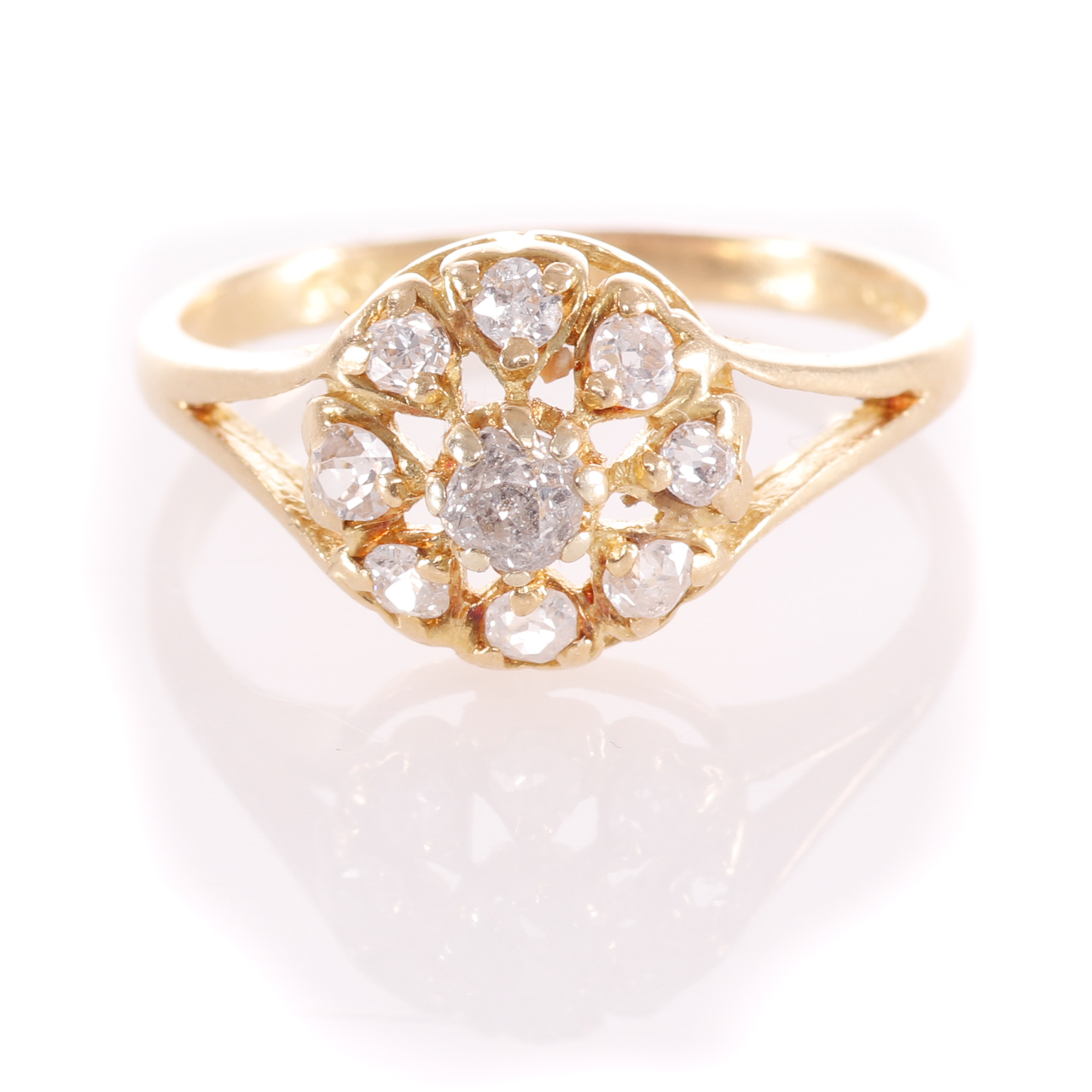 18ct Gold Rose Cut 0.35ct Diamond Cluster Ring - Image 3 of 8