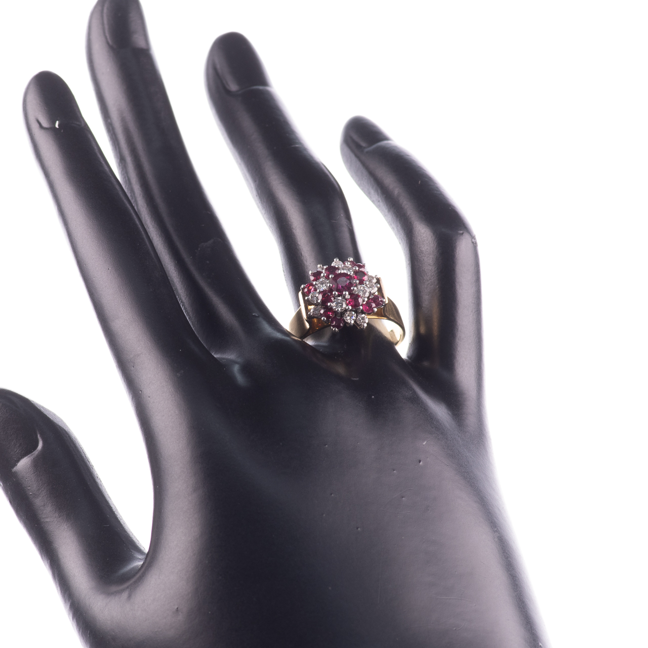 18ct Gold Ruby & 0.35ct Diamond Cluster Ring Hallmarked Birmingham - Image 2 of 7