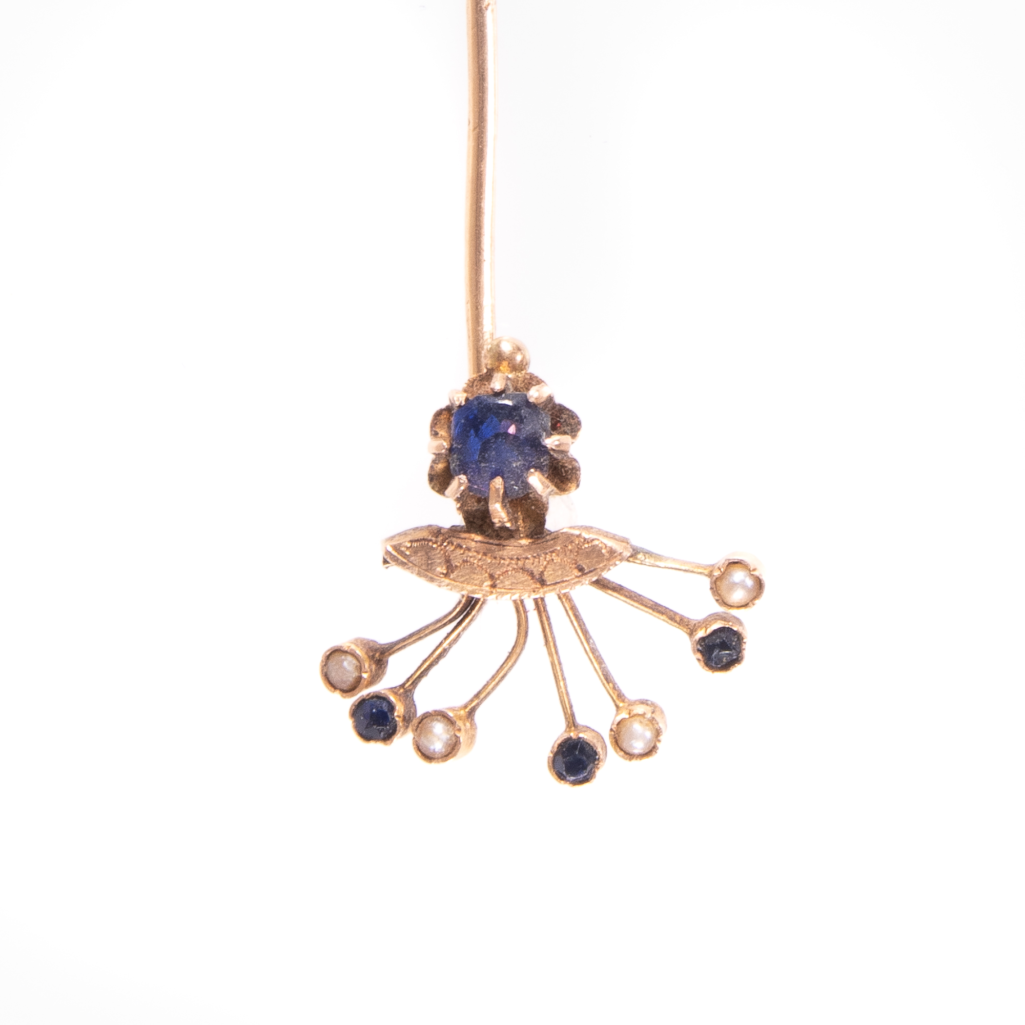 9ct Gold Victorian Sapphire & Pearl Stickpin Brooch - Image 3 of 4