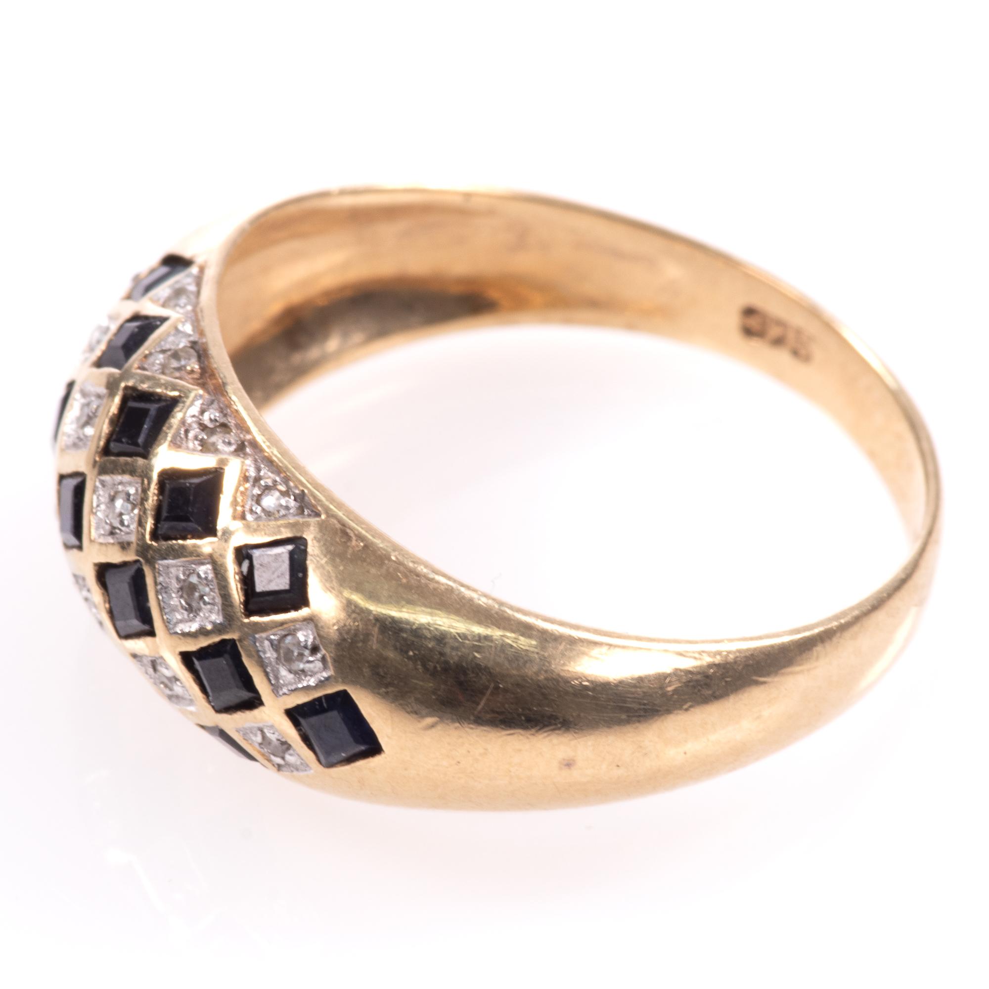 9ct Gold Art Deco Style 0.68ct Sapphire & Diamond Ring - Image 5 of 8