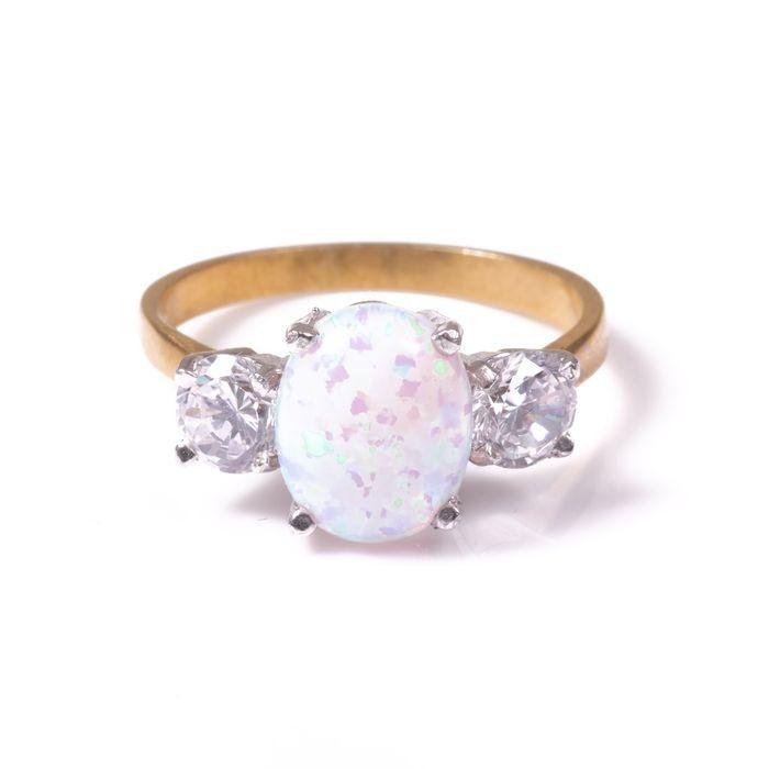 Opal & Paste Gilded Ring