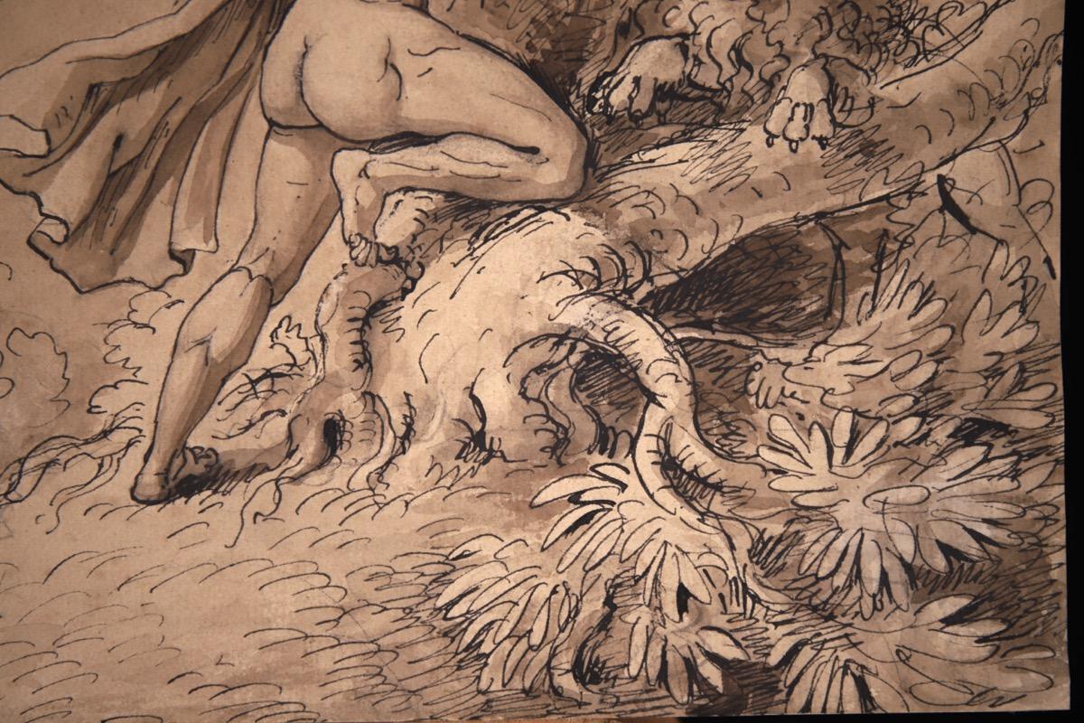 XVII Italian Old Master Drawing of Milo of Croton - Image 9 of 11