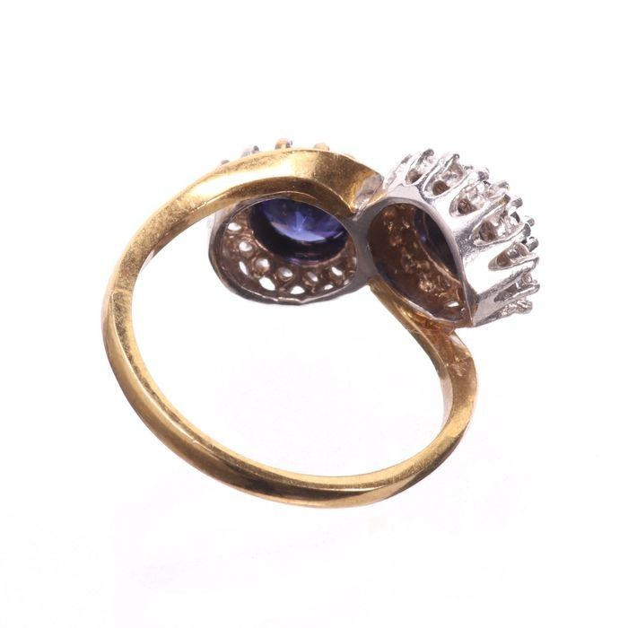 Synthetic Sapphire & Paste Gilded Ring - Image 4 of 5