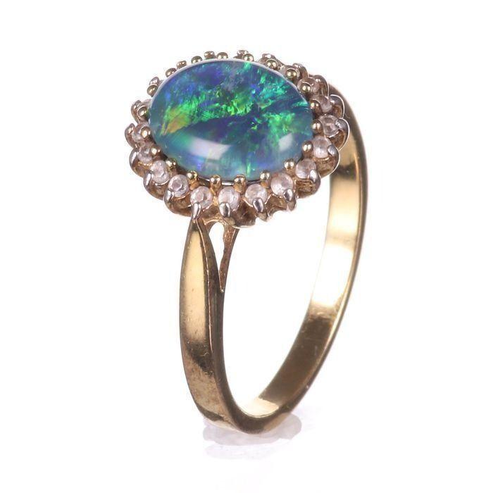 Gilt Black Opal Ring