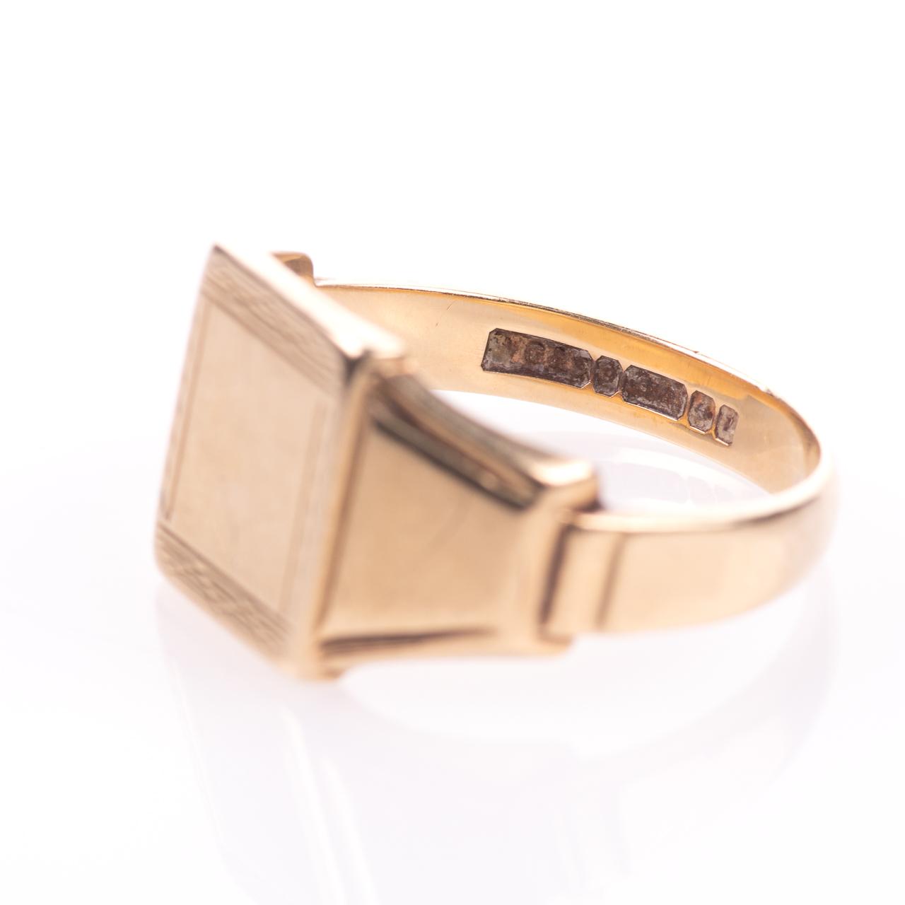 Art Deco Style Gentleman's Signet Ring 9ct Gold - Image 5 of 7